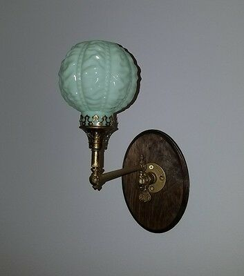 Antique Brass Gas Light Wall Sconce Dated 1903 With Nice Welsbach Shade. Mint!