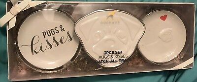 DOGHAUS 3 Piece Set Pugs & Kisses Trays PUG Trinket Plates Great Pug Lover Gift