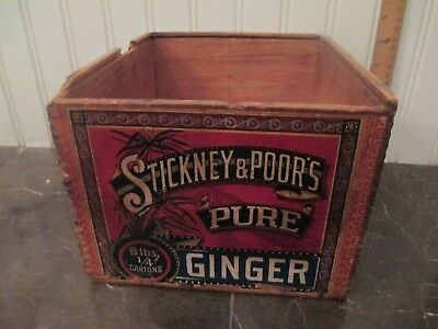 1870s Stickney & Poor's Ginger Labeled Wooden Advertising Box Boston paper 9""
