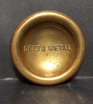 Rare Antique Advertising Brass Bronze Delta Metal Footed Tripod Bowl Dish Tray
