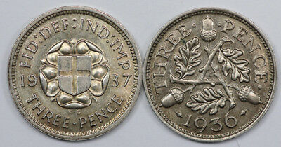 Great Britain 1936 & 1937 Silver Threepences, Both choice Uncirculated