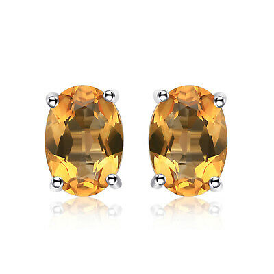 JewelryPalace 1.4ct Natural Citrine Birthstone Stud Earrings 925 Sterling Silver