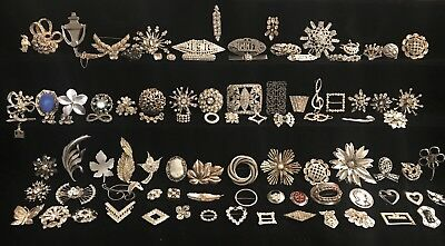 Huge Vtg Antique Estate Lot of 95 20s-60s Silver Tone Brooches Pin Brooch RARE