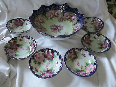 Antique Victorian cobalt blue fruit bowl set hand painted pink flowers gold