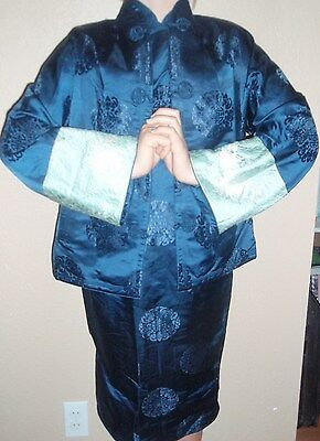 Cheongsam BLUE & TEAL EMBROIDERED W/ BROCADE FLORAL DESIGN DRESS & JACKET SMALL
