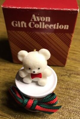 Vintage Avon Gift Collection Teddy Bear On A Drum Christmas Ornament