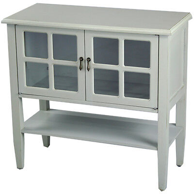 Vivian 2-Door Console Cabinet w/ Paned Glass Inserts and Shelf