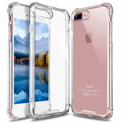 Shockproof TPU Silicone Protective Bumper Case Cover iPhone 6 7 8 Plus X Clear