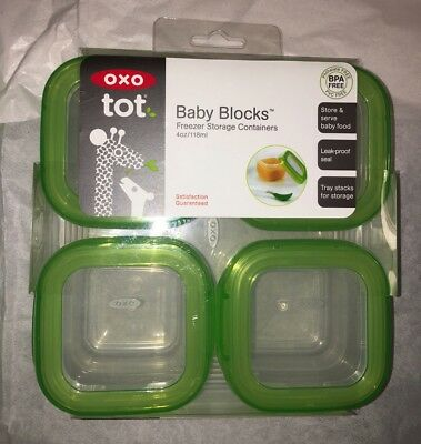 Oxo Tot Baby Blocks New 4 x 4 oz Food Storage Containers Freezer Microwave Dish