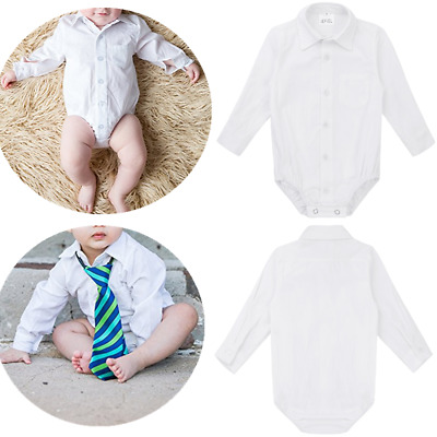 Infant Baby Boys Gentleman Romper Formal Wedding Birthday Shirt Bodysuit Outfits