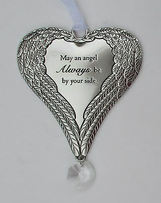 T May an angel always be by your side HEART ANGEL WING ORNAMENT guardian