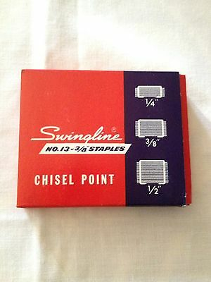 Swingline No 13 SF 3/8 Inch Chisel Point Staples High Carbon Wire Full Box NOS