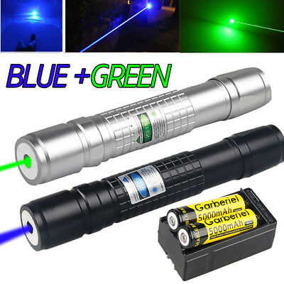 20Miles Range Green&Blue Laser Pointer Pen Visible Beam Zoom Lazer 18650&Charger