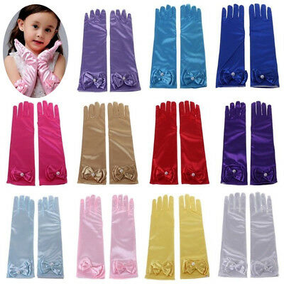 Kinder Stretch Satin Handschuhe Handgelenk Ellenbogen Oper Lang Party Kostüm