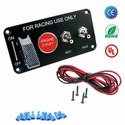 Racing Car 12V Ignition Switch Panel Engine Start Push Button LED Toggle AE