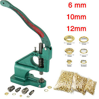 Green Eyelet Hole Punch Machine Hand Press Steel Banner Bag+3 Dies+ 900 Grommet