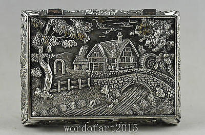 Collectible old miao silver handwork carved house and tree noble jewel box