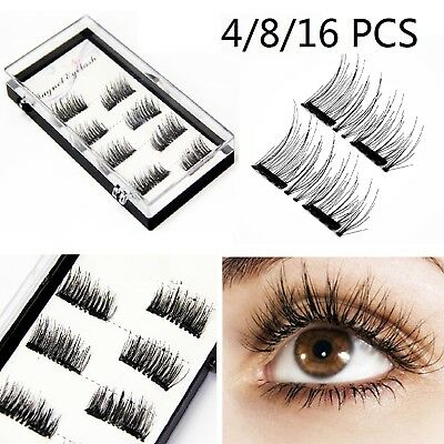 3D Double Magnetic False Eyelashes No Glue Handmade Natural Extension Eye Lashes