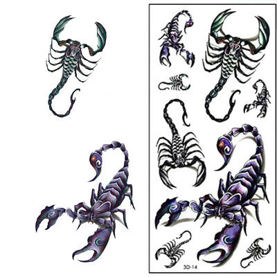 2x Roi Scorpion Tatouage Temporaire Art Corporel Flash Tatouage Autocollant Mode