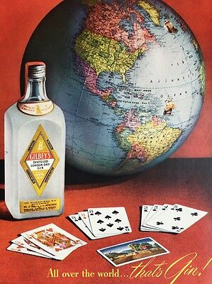 Vintage 1950 Gilbey's Gin Ad Colorful Card Game Globe Alcohol Advertising