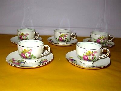"5 Vintage Foley China Mini size Cups&Saucers ,  CUP dia 2.25"", height 1.75"""