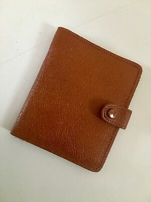 Vintage 1970s Tan Leather Bifold Mens Wallet - Made in England - 9cm x 11cm