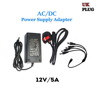 12V 5A AC/DC Power Supply Adapter for CCTV UK Plug + 4 Way Power Splitter Cable