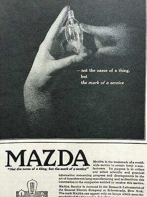 Vintage Mazda Light Bulb Ad 1919 General Electric Advertising Antique
