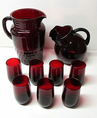 Set of 2 pitcher sizes w/7 glasses - Vintage Antique - Ruby Red Glassware (359)