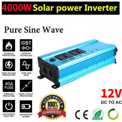 3000W DC 12V to AC 220V Solar Power Car Inverter Converter USB Battery Charger