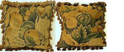 """Pair of Handmade French Gobelin Tapestry Weave Wool Aubusson Pillow Covers 18"""""""