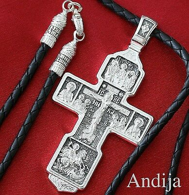 Russian Orthodox Big Body Cross+Soft Leather Cord Silver 925 Prayer Crucifix.