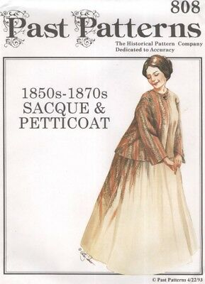 PAST PATTERNS 808 - 1850s -1870s SACQUE & PETTICOAT HISTORICAL MULTI SIZED (CUT)