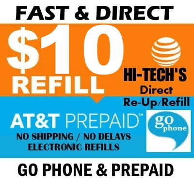$10 AT&T PREPAID & GO PHONE FASTEST ONLINE REFILL 25yr USA TRUSTED DEALER