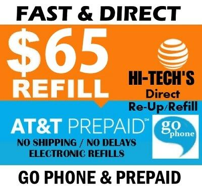 $65 AT&T FASTEST REFILL for Go Phone & Prepaid > 25yr USA TRUSTED REAL DEALER <