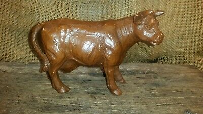 VTG. Red Mill handcrafted crushed pecan resin cow 1989 4 x 6