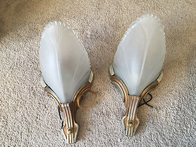 Pair Art Deco Slip Shade Wall Sconces Frosted Batwing Shade Not Sure If Markel