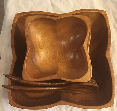 7 Piece Wood Salad Bowl Set Mid Century Modern
