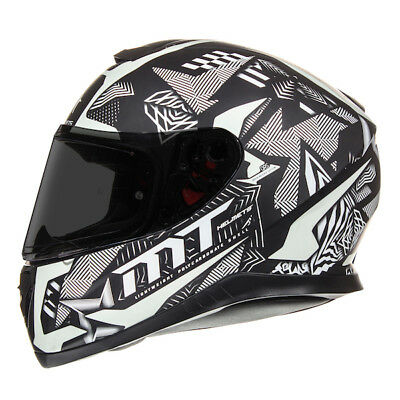 MT Thunder 3 Fractal Matt BLACK/silver Motorcycle Full Face glow in dark Helmet