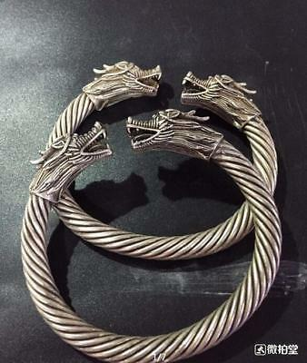 A-pair-Chinese-Miao-silver-dragon-cuff-Bangle-bracelet AAAA