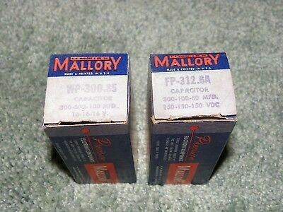Pair Nos Mallory Can Capacitors In Boxes Working Super Wp-300.85, Fp-312.6A
