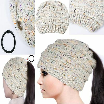 Women Confetti Knit Beanie Hat Soft With Ponytail Hole Thick Warm Winter Beige