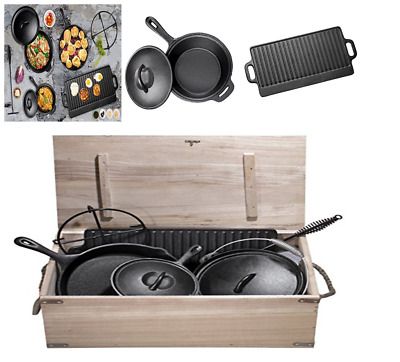 Pre-Seasoned 7 Pc Heavy Duty Cast Iron Skillet Dutch Oven Camping Cooking Fry