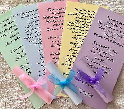 Baby Shower Thank You Card Scrolls Favours Personalised Party Bag Filler