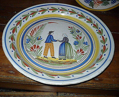 QuimperFaience PotteryCharger Plate Decorative Wall French Vtg CountryDecor