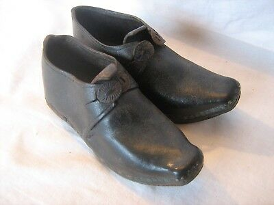 Pair antique Victorian leather child`s hobnail cleated clogs