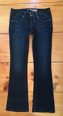 PAIGE MATERNITY JEANS Stretch Waist Laurel Canyon Bootleg Darkwsh Sz 27 / 4 EUC