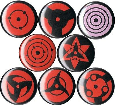 set of Naruto Sharingan pins buttons anime sasuske itachi kakashi uchiha anime