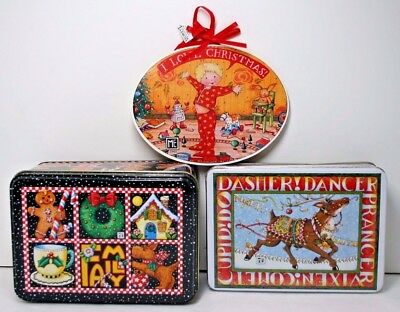 Mary Engelbreit Christmas Theme Mixed Lot 2 Tins + 1 Ornament NOS Great Gift NOS