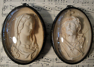 Large Antique French Pair of Carved Plaster Mary and Jesus Pendant c1850